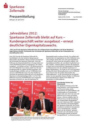 Jahresbilanz 2012: Sparkasse Zollernalb bleibt auf Kurs ...