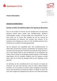 Pressemeldung Kundenzufriedenheit 2011 - Sparkassen Immobilien