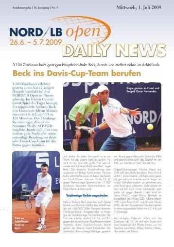 Beck ins Davis-Cup-Team berufen - Sparkassen Open