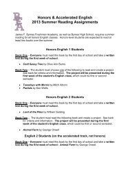 Honors & Accelerated English 2013 Summer Reading Assignments