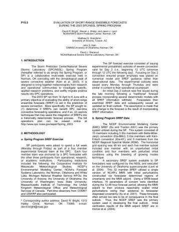 P15.5 EVALUATION OF SHORT-RANGE ENSEMBLE FORECASTS ...