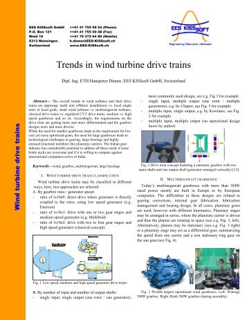 Trends in wind turbine drive trains - EES KISSsoft