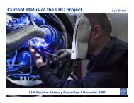 Current status of the LHC project - LHC Machine Advisory Committee