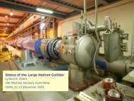 Status of the Large Hadron Collider - LHC Machine Advisory ...