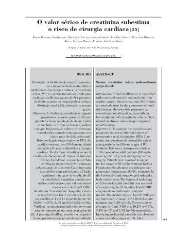 O valor sérico de creatinina subestima o risco de cirurgia cardíaca [25]
