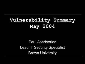 Vulnerability Summary May 2004 - PaulDotCom