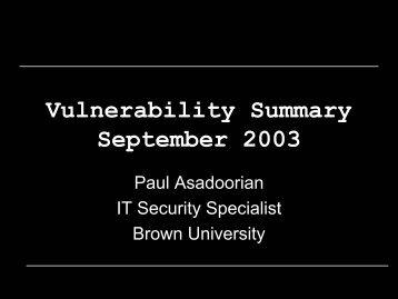 Vulnerabilities - PaulDotCom
