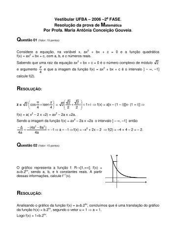 Vestibular UFBA – 2006 –2a FASE. Resolução da prova de ...