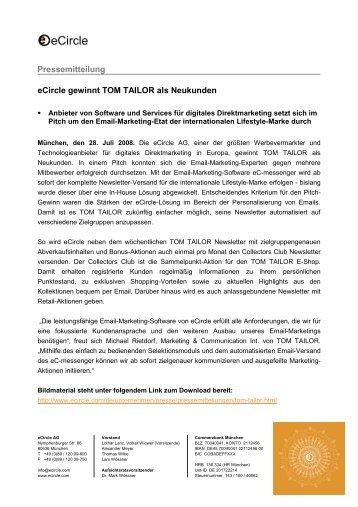 eCircle gewinnt TOM TAILOR als Neukunden Pressemitteilung