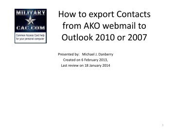 How to export Contacts from AKO webmail2 to Outlook 2010 - CAC