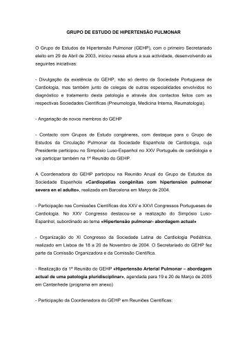 grupo de estudo de hipertensão pulmonar - Sociedade Portuguesa ...