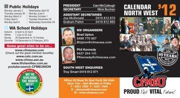 2012 NW Members RDO Calendar - cfmeu