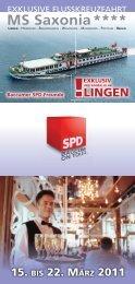 Flyer der Flußkreuzfahrt von Lingen nach Berlin - SPD-Emsland