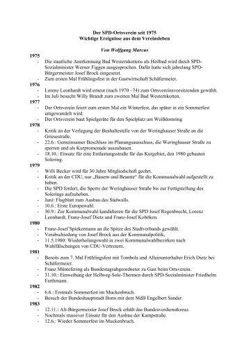 Der SPD-Ortsverein seit 1975 Wichtige Ereignisse aus ... - SPD Erwitte