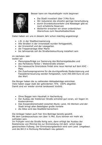 Neues aus der Stadtpolitik - SPD Ortsverein Hachenburg