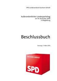 Beschluss LPT-2009-01 - SPD-Landesverband Sachsen-Anhalt