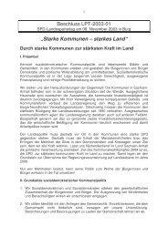 """Beschluss LPT-2003-01 """"Starke Kommunen – starkes Land"""" - SPD ..."""