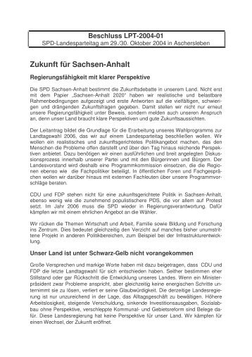 Beschluss LPT-2004-01 - SPD-Landesverband Sachsen-Anhalt