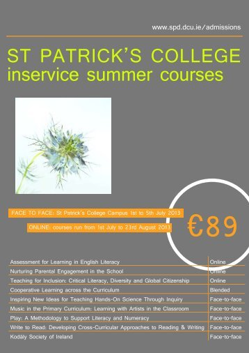 ST PATRICK'S COLLEGE inservice summer courses