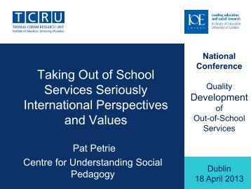 Taking Out of School Services Seriously International Perspectives ...