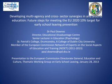 Developing multi-agency and cross- sector synergies in and around ...