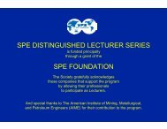 spe distinguished lecturer series spe foundation - Society of ...