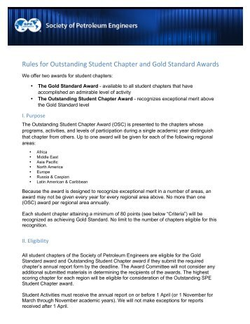 Rules for Outstanding Student Chapter and Gold Standard Awards