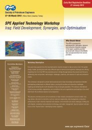 SPE Applied Technology Workshop Iraq - Society of Petroleum ...