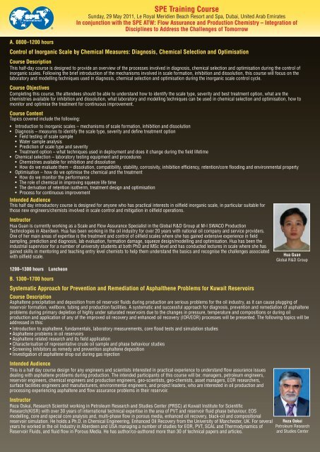 SPE Training Course - Society of Petroleum Engineers