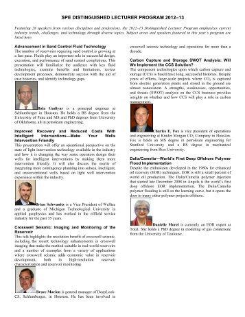 spe distinguished lecturer program 2012–13 - Society of Petroleum ...