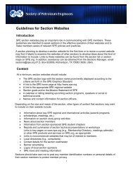 Guidelines for Section Websites - Society of Petroleum Engineers