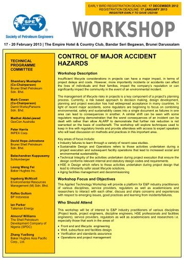 control of major accident hazards - Society of Petroleum Engineers