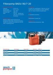 Filterpomp BADU 90/7-20 - Speck Pompen Nederland BV