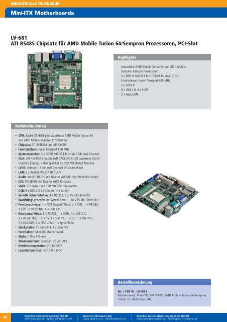 Übersicht industrielle ATX-Motherboards - Spectra ...