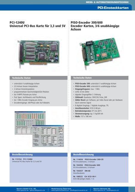 Katalogauszug PC-Einsteckkarten - Spectra Computersysteme GmbH