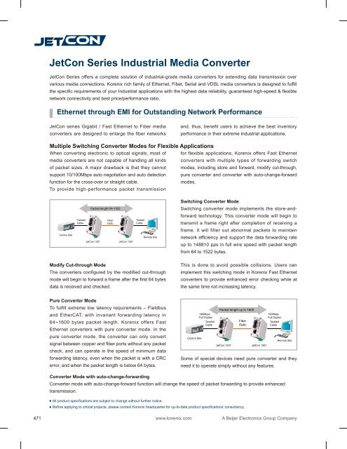 JetCon Series Industrial Media Converter - Korenix
