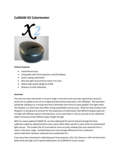 CalMAN X2 Colorimeter - SpectraCal