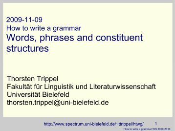 Words, phrases and constituent structures - Universität Bielefeld