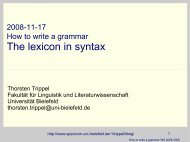 The lexicon in syntax - Computational Linguistics and Spoken ...