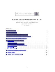 Archiving Language Resource Objects in XML ... - E-MELD Logo