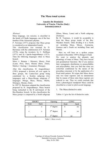The Masa tonal system - Computational Linguistics and Spoken ...