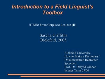 Introduction to a Field Linguist's Toolbox - Computational Linguistics ...