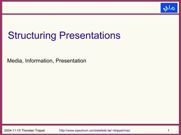 Structuring Presentations - Computational Linguistics and Spoken ...