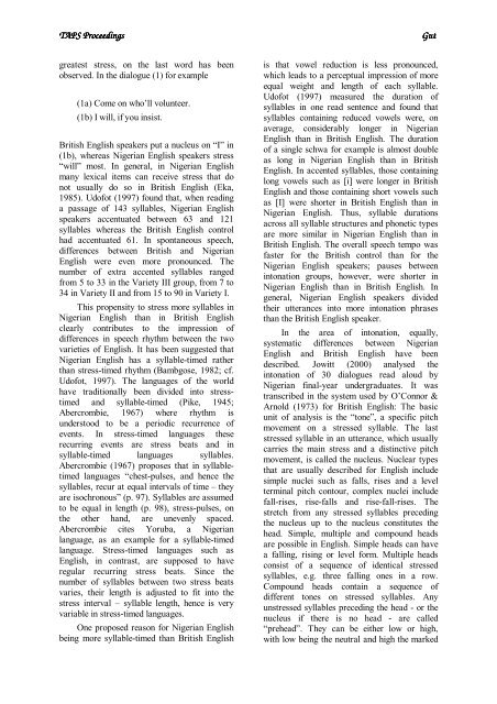 Prosodic aspects of Standard Nigerian English - Computational ...