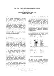 The Tone System of Geviya - Computational Linguistics and Spoken ...