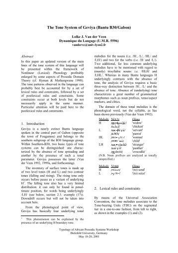 The Tone System of Geviya - Computational Linguistics and Spoken ...