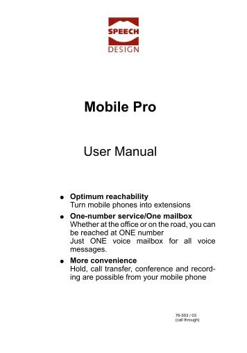 Mobile Pro User manual - SPEECH DESIGN