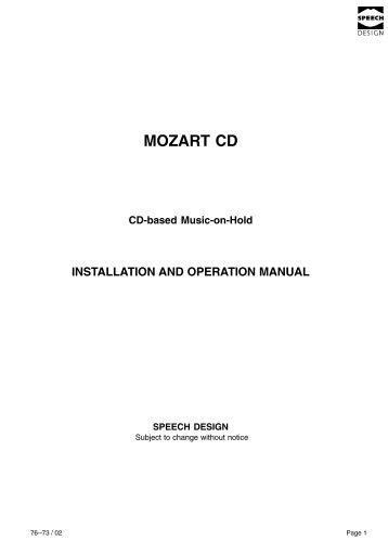 MOZART CD - Speech Design
