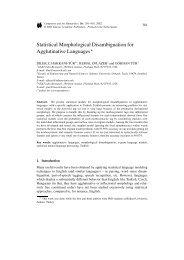 Statistical Morphological Disambiguation for Agglutinative Languages