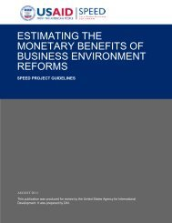 estimating the monetary benefits of business environment reforms